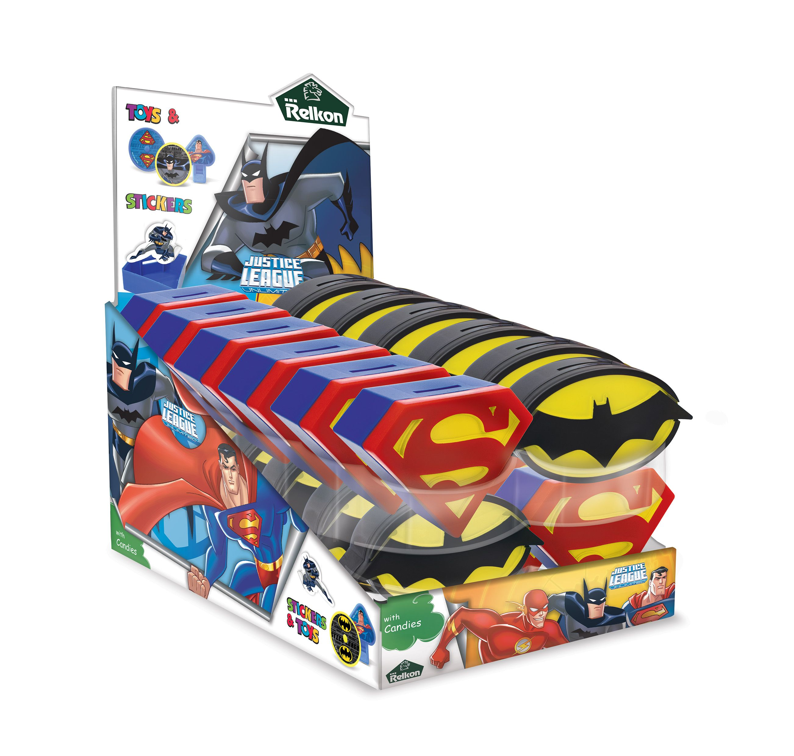 Justice League Food and Beverage coin banks with candy